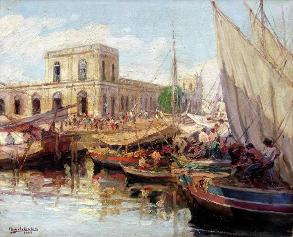 """Angelo Guido """"Mercado de Porto Alegre"""" - 1935 óleo sobre cartão - 49,0 x 60,5 cm Foto: Cylene Dallegrave"""