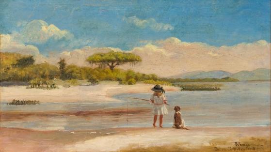 """Pedro Weingärtner, """"Barra do Ribeiro"""" - 1918 - óleo sobre madeira - acervo Pinacoteca Aldo Locatelli"""