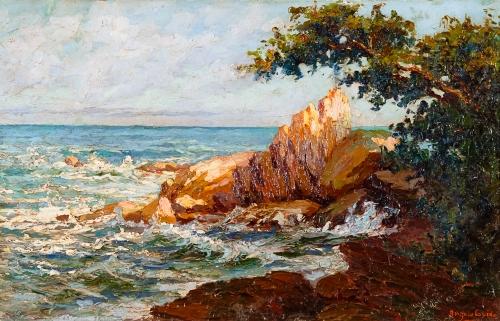"""ANGELO GUIDO (Itália,1893 – Pelotas, 1969) - """"Marinha - Ilha Porchat"""" - sem data - óleo sobre tela - acervo PINACOTECA ALDO LOCATELLI - foto: Leopoldo Plentz"""